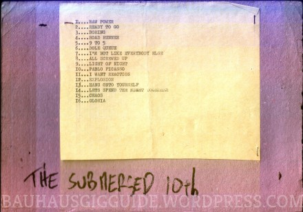Submerged 10th song list